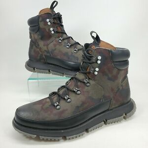 Cole Haan Zerogrand Hiking Boots Leather Mens Size 10.5 M Black Olive Camo