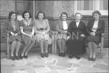 Original small negative - 5 ladies with an older lady (Grandmother?) on bench.
