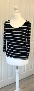 Ladies HOBBS Lovely Casual Navy Striped Jersey Top, Size M UK 12 - 14