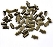 50 Ribbon End Clamps/Cord Ends - 13mm Antique Bronze Tone J14626E