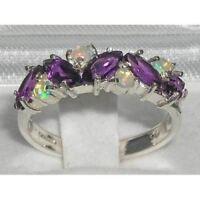 Ladies Solid 925 Sterling Silver Natural Amethyst & Fiery Opal Eternity Ring