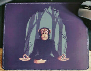 MONKEY YOGA Mouse Mat Pad Library Faux Leather Handmade UK Unique Keyboard Custo