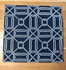 NWT Pottery Barn Navy White Lattice 20 x 20 Pillow Cover Sample 2 Sided Pattern
