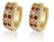 18 k Gold Plated Jewellery Small Girls Women Pink Hoops Earrings E706