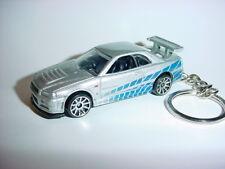 BRIAN'S SILVER 3D NISSAN SKYLINE GT-R R34 CUSTOM KEYCHAIN KEY chain KEYRING ring