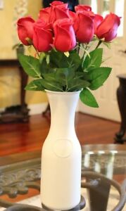 Real Touch Latex Artificial roses Flower Arrangement , red , base included.
