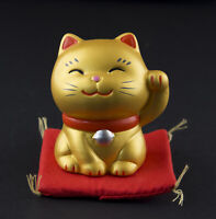 Figura Gato Japonés 7cm Dorado Fabricado en Japón Maneki Neko Llaveros Suerte