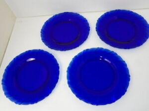 Arcoroc France Colbalt Blue 9 1/4 inch Dinner Plates Set of 4 Swirl