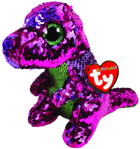 TY FLIPPABLE- Stompy the Pink & Green Dinosaur Regular