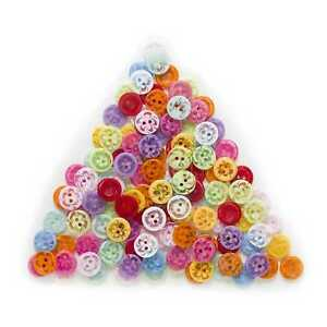 100pcs Round Resin Buttons for Sewing Scrapbooking Cloth Crafts Home Decor 14mm