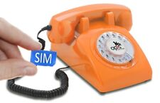 Table Phone OPIS 60s Mobile Retro/Vintage GSM Desk Phone with Dial Orange