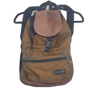 Vintage 90's Jansport Backpack brown synch tie leather bottom Aztec pocket trim