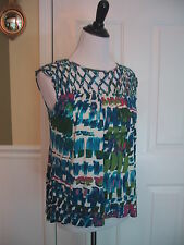 Plenty by Tracy Reese Top Size XS Openwork Macrame Sleeveless Colorful Tunic