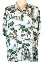 Batik Bay Men's 4X B Hawaiian Shirt, Sailboats Islands Florals Lobsters