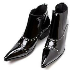Ankle Boots Leather Cuban Heel Casual Mens Zip Pointy Toe Shoes Rivet Formal Hot