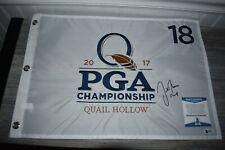 Justin Thomas SIGNED 2017 PGA Tour Championship Quail Hollow Flag BAS COA PGA