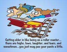 METAL FRIDGE MAGNET Older Like Roller Coaster Pee Pants Friend Family Humor