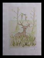 Salvador Dali- The Sick Deer 74-1 (F) COA by Frank Hunter Original Engraving COA