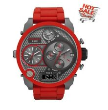 NEW DIESEL DZ7279 MR. DADDY RED SILICONE GUNMETAL 4 TIME MEN'S WATCH UK SELLER