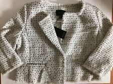 NEW ADRIENNE VITTADINI Woman's 3/4 Sleeve Cropped Tweed Jacket Blazer White XL