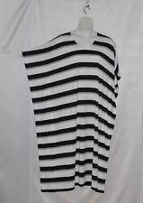 Joan Rivers Regular Length Bold Striped Knit Caftan Size S Black/Grey