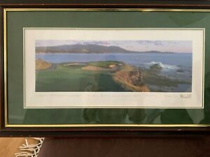 "Pebble Beach Golf Links No. 7 Framed Panoramic Print, Signed  27"" x 16"""