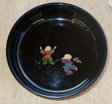 Black Lacquer Ware Bowl JAPAN with two Asian figures Design 8.3