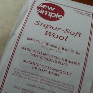 """Sew Simple Super Soft 100% Wool Wadding with Scrim 90"""" Wide"""