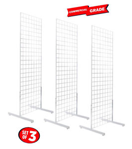 Only Hangers 2' x 6' Grid Wall Panel Floorstanding Display Fixture 3 pack White