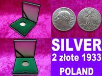 2 zlote 1933 Poland Silver coin FREE SHIPPING head of a woman rare unique