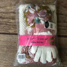 Betsey Johnson Womens One Size White Pink Pom Hat & Loop & Gloves Holiday Set 1