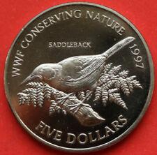 Münze WWF CONSERVING NATURE SADDLEBACK, NEW ZEALAND 1997, FIVE DOLLARS