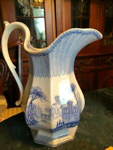 estate antique light blue large water pitcher-transferware pottery
