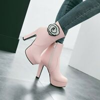 Women Fashion Ankle Boots Round Toe Block High Heels Platform Side Zip Shoes
