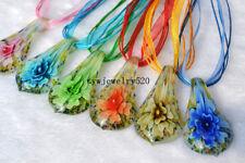 Wholesale Lots 6Pcs Leaf Flower Murano Glass Pendant Silk Necklace FREE