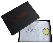 John Giles SIGNED Leeds United Shirt & Gift Box Football Retro New AFTAL COA