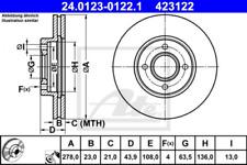 2x Bremsscheibe für Bremsanlage Vorderachse ATE 24.0123-0122.1