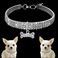 Crystal Diamante Cat Dog Collars Bling Rhinestone Necklace Small Pet Puppy S M L
