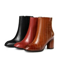 Womens Party Shoes Genuine Leather High Block Heels Zip Ankle Boots UK Size b229
