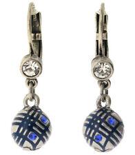 £30 Boho Geometric Art Deco Silver Blue Drop Earrings Swarovski Elements Crystal