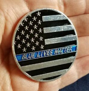 Blue Lives Matter Thin Blue Line Americas Shield Heavy Challenge Coin