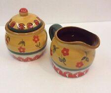 """Folk Art"" Brand Cream and Sugar Service Set Dishes"
