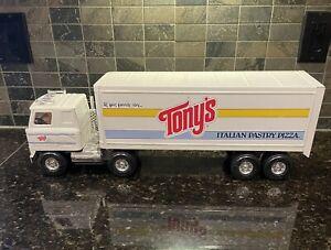 """1988 Ertl Tony's Pizza Semi Truck Trailer 22"""" metal steel Toy International Cab"""