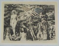 Vintage 1976 Hand Painted Etching My Bicentennial Print by Herbert Fink Listed