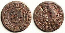 Spain-Felipe V. 2 maravedis 1719. ZARAGOZA. Cobre 4,1 g. ESCASA