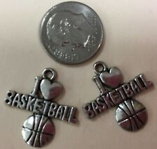 I heart (love) basketball charms for bracelet, necklace, earrings or other craft