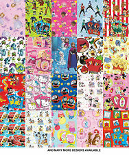 Official Licensed Character GIFT WRAP PAPER 2 Sheets with 2 Tags Wrapping Sheets
