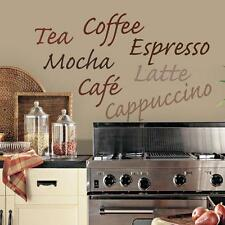 COFFEE WALL DECALS Vinyl Sticker KITCHEN WORDS Wall Décor Coffee Tea Theme Decor