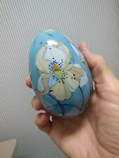 "Lovely Hand Painted Porcelain Egg Signed Large 4"" Robin Egg Blue Color"