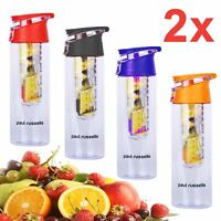 2x Large 800ML Fruit Infusion Infusing Infuser Juice Water Bottle Flip Sports